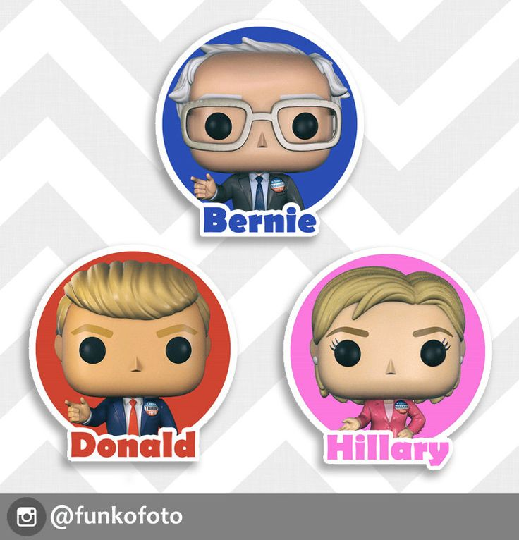 "Presidential Candidates  2016 | Bernie, Donald or Hillary 3"" Glossy  Sticker by funkofoto on Etsy"
