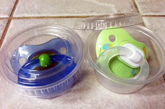 Keeping pacifiers clean in your purse. Brilliant!
