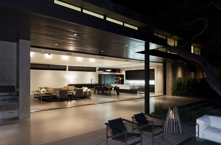 Home Design, Stylish Terrace Seen Froom Skyline House Patio Displaying Large Unitary Room Interior With Glass Wall: Captivating Modern House Design Ideas with Infinite Swimming Pool