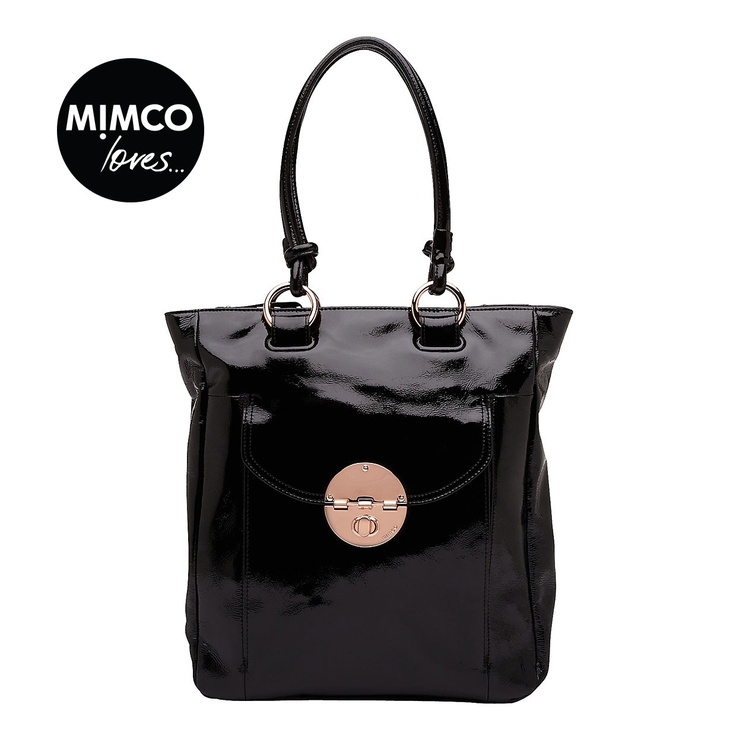 MIMCO Black Patent Turnlock Shopper Tote