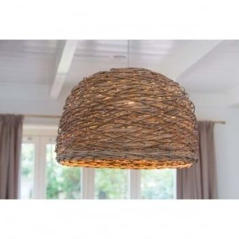 This is a great looking ceiling pendant made in a traditional basket weave pattern. In a simple dome shape, this light is further enhanced when illuminated as the light shines through the weave, showcasing the natural pattern. Suspended on 1.1 metres of transparent cable, which can be shortened at the point of installation for a shorter drop. This light would be a great choice for rustic modern rooms. It would also be a great light for hanging over tables in cafes, bars and restaurants.
