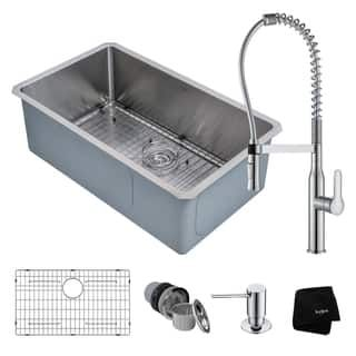 KRAUS 30 Inch Handmade Undermount Stainless Single Bowl Kitchen Sink With  Nola Commercial Style Faucet And