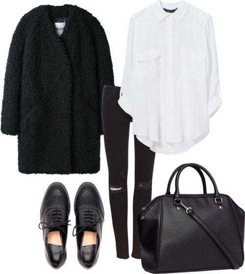 Pantaloni neri skinny (H&M) o jeans con strappi (H&M), camicia bianca oversize (H&M), eco pelliccia (Rosa Blu), scarpe stringate nere (OVS) o ballerine leopardate (Piazza Italia).