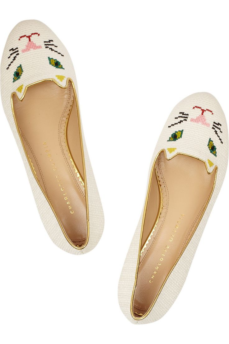 Charlotte Olympia|Kitty embroidered woven cotton slippers|NET-A-PORTER.COM