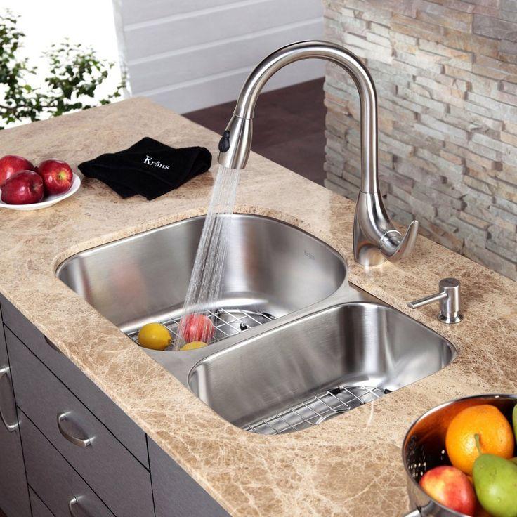 kraus kbu23 kpf2170 sd20 double basin undermount kitchen sink with faucet kitchen sinks. beautiful ideas. Home Design Ideas