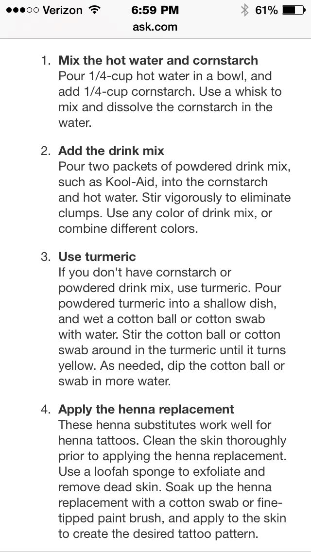 How to make henna without henna powder! Awesome cuz I want to do it, but don't have the powder!
