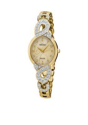 Seiko Women's Women's Solar Gold-Tone With Swarovski Crystal Accents Watch - Gold - One Size