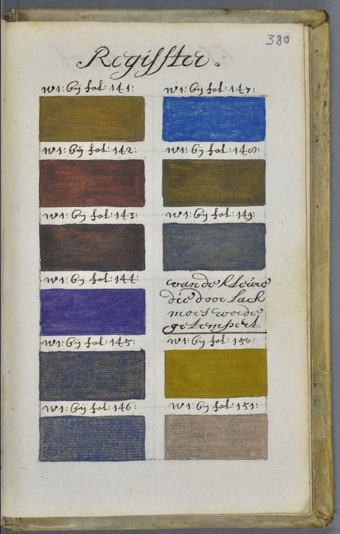 Ontdekking: bijzonder kleurenboek uit de 17e eeuw  'De klaarlichtende spiegel der verfkunst' #kleur #color
