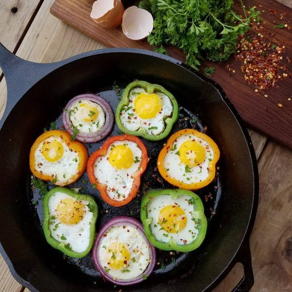 These make mornings FUN, take 15 minutes to prepare...and you can make them your own by adding YOUR favorite toppings.  Ingredients: 1-2 red, green, orange, or red bell peppers, & a large red onion whole eggs sea salt and freshly ground pepper to taste. Red pepper flakes to taste. optional...