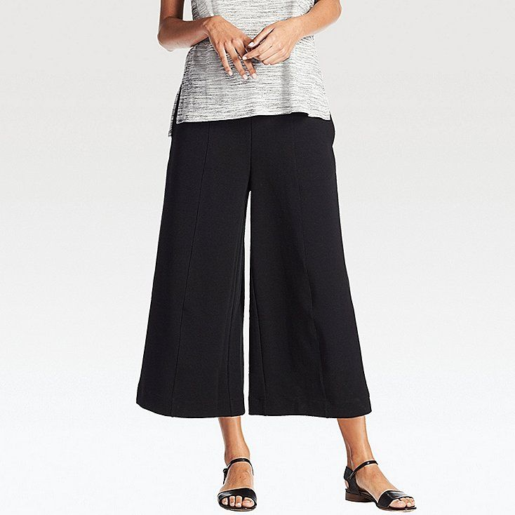 WOMEN Milano Ribbed Cut Sewn Ankle Wide Pants   UNIQLO