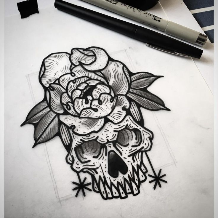 "439 Likes, 4 Comments - Davide Capone Tattoo Maker (@davtattoos) on Instagram: ""Skull. Peony. ▪️#sketching #sketch #sketchbook #drawing #tenerife #tenerifeink #tenerifetattoo…"""