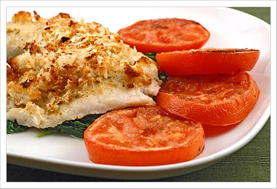 Garlic Parmesan Tilapia and Roasted Parmesan Tomatoes (put over rice with a garlic butter sauce)... yum!!
