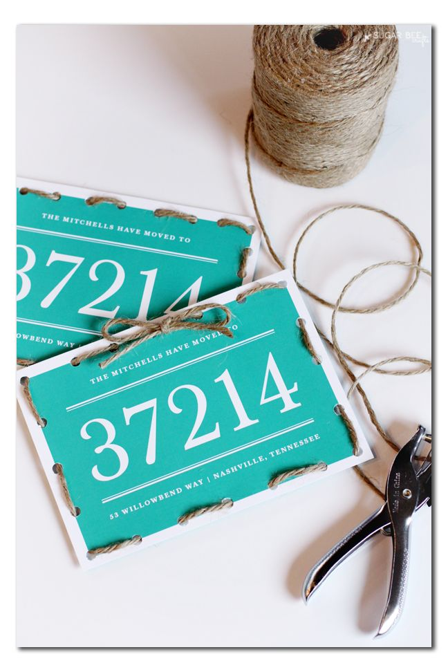 "twine lacing stationary card - super fun idea to add a diy handmade touch to stationary (these are ""we've moved"" cards)"