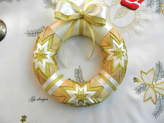 Gold Christmas wreath gold wreath holidays wreath door by Gydesi