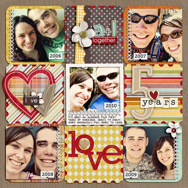 Could do something like this for our ten year anniversary but use a two page layout. Like how each non photo square is decorated differently.