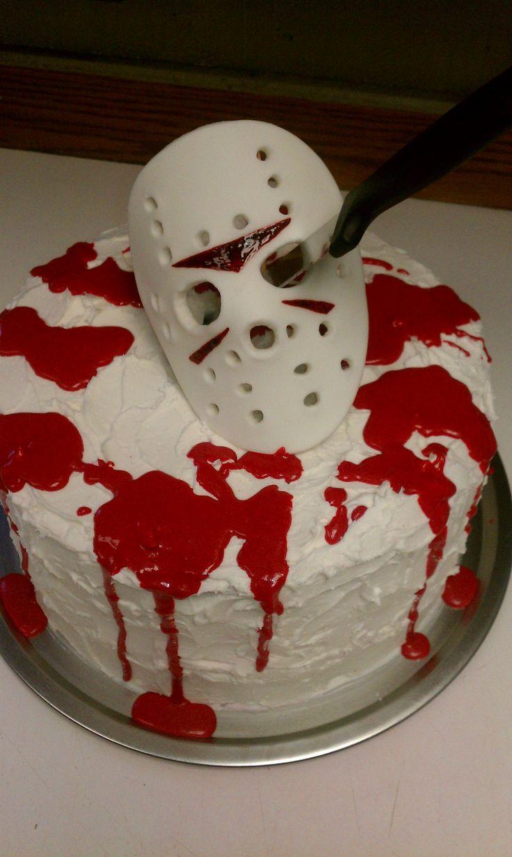 Jason Voorhees - Halloween Cake - 3 layer, red velvet, cream frosting/filling.  Fondant Mask.