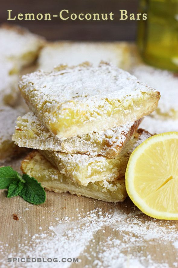Lemon Coconut Bars 1 cup flour 1/4 cup powdered sugar, plus more for garnishing 1/2 cup butter, melted 1	cup sugar 1/2	teaspoon baking powder 2	eggs, beaten 3	tablespoons lemon juice (about 1-1.5 lemons) 2	teaspoons lemon zest 1/2	cup shredded coconut