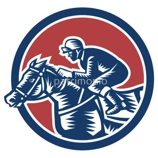 Jockey Horse Racing Circle Woodcut Retro