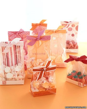 Dress up cellophane bags with decorative paper to showcase candy for favors or guest-room gifts.