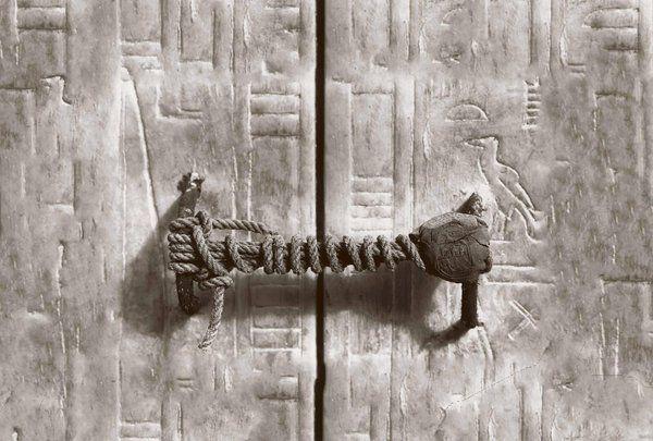 The 3245 year old seal on Tutankhamen's tomb before it was broken, 1922.