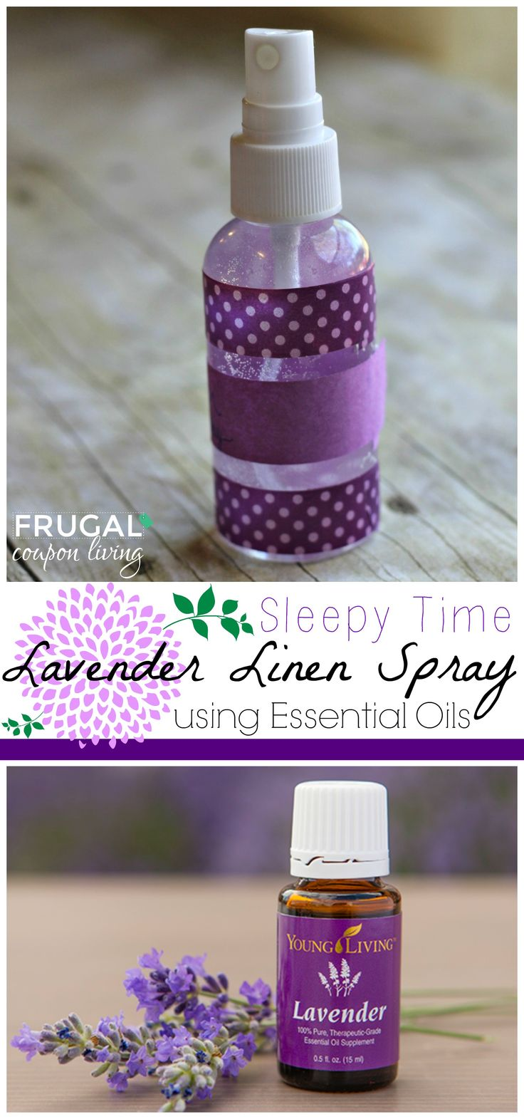 Homemade Lavender Linen Spray – Sleepy Time Remedy on Frugal Coupon Living.. DIY Home. DIY Spray. DIY Linen Spray. Essential Oils.