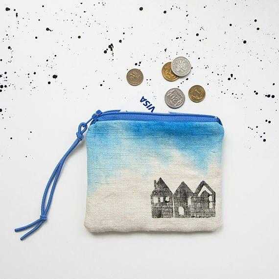 Linen coin purse blue ombre mini pouch Houses pattern travel