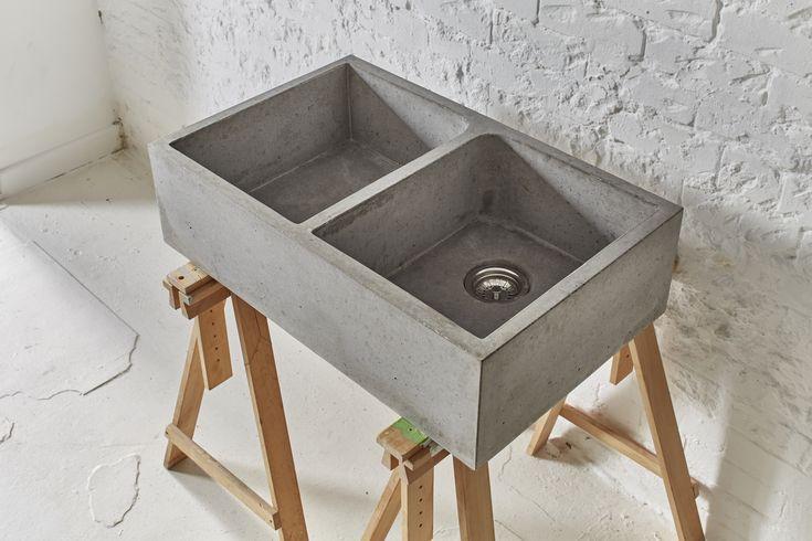 Best Beautiful Polished Concrete Double Belfast Sink 800 X 640 x 480