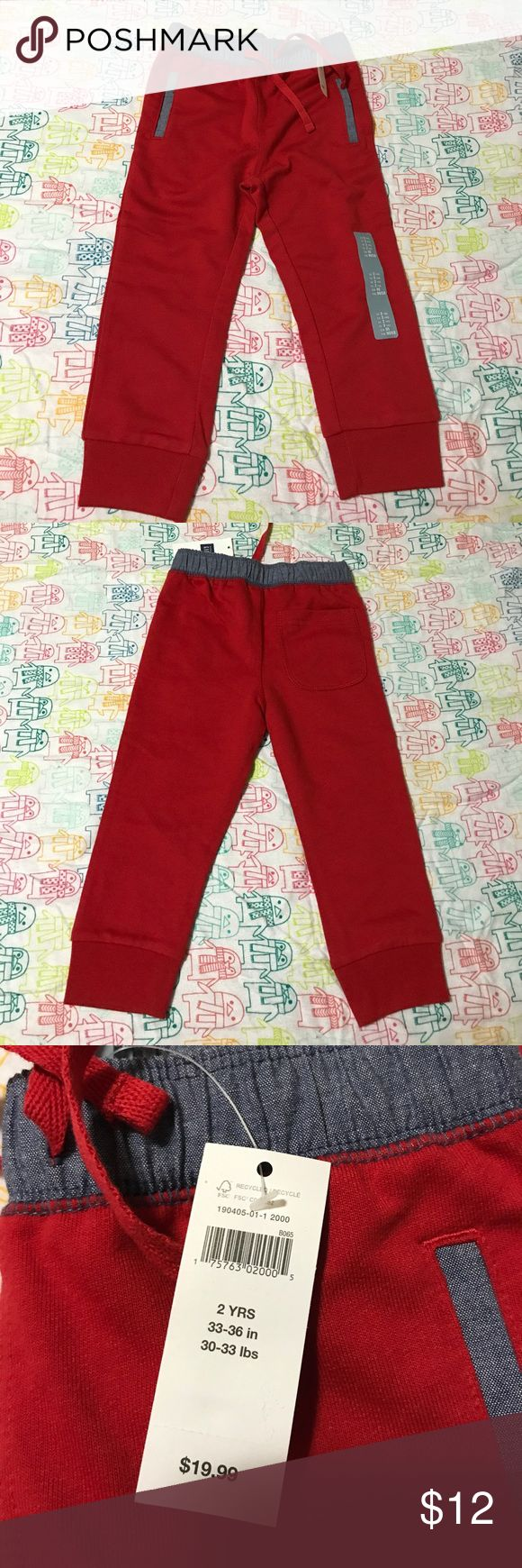 Baby Gap Red Joggers Size 2T brand new with original tags still attached GAP Bottoms Sweatpants & Joggers