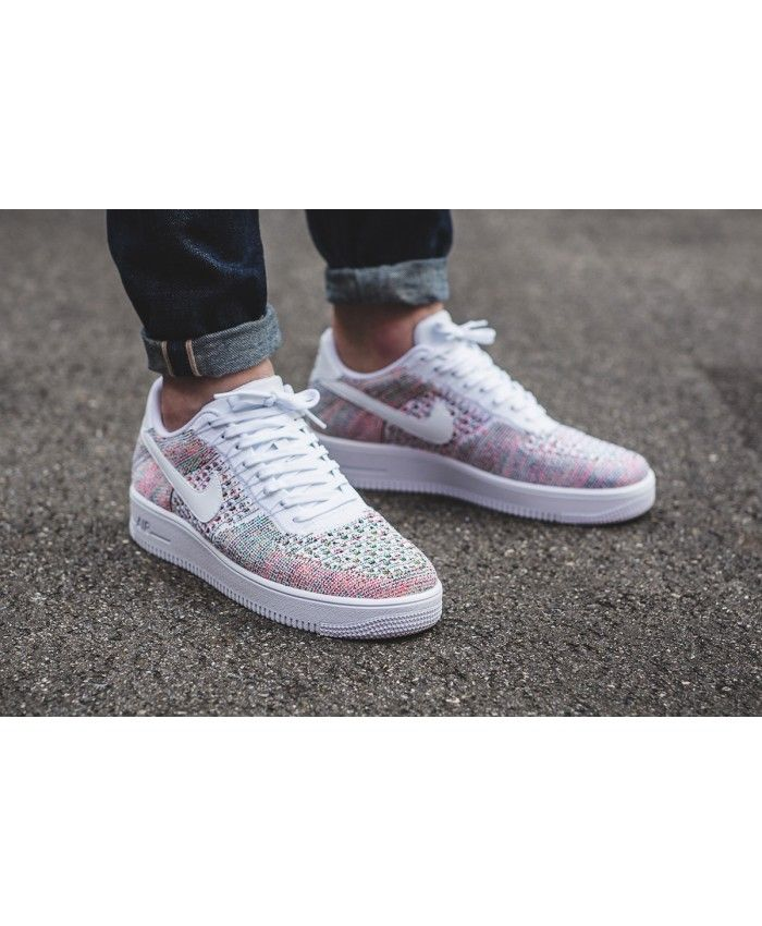 c699be12fbe93 Womens Nike Air Force 1 Ultra Flyknit Low White Multicolor Shoe ...