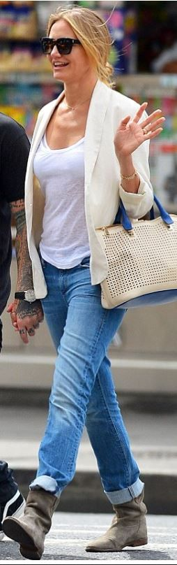 Cameron Diaz: Sunglasses – Saint Laurent  Purse – Chloe  Shoes – Isabel Marnt