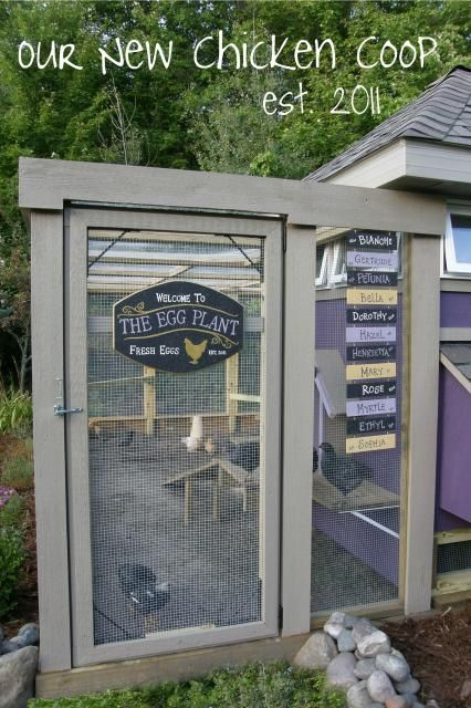 Navychick's Page - BackYard Chickens Community    Love the idea of having plaques for the chickens.  Chalkboard paint