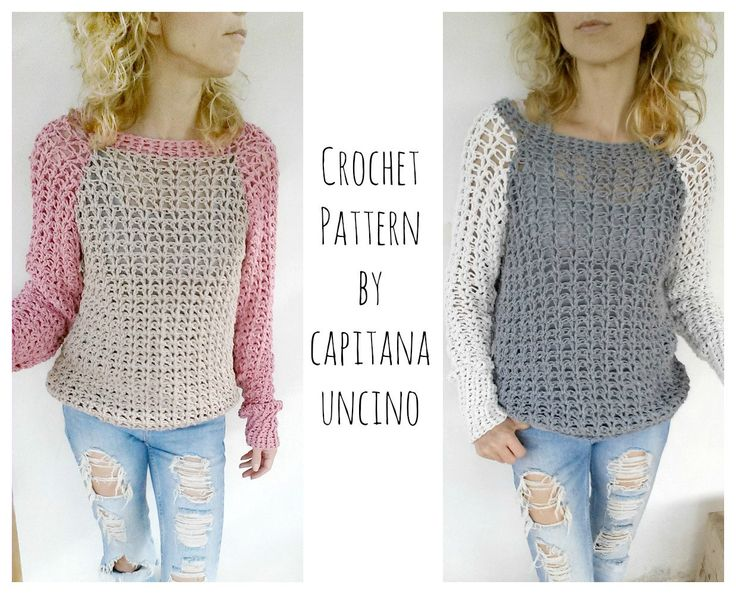 PDF-file for Crochet PATTERN, Valentina Pullover, Sweater, 4 different Sizes: XS-L by CapitanaUncino on Etsy