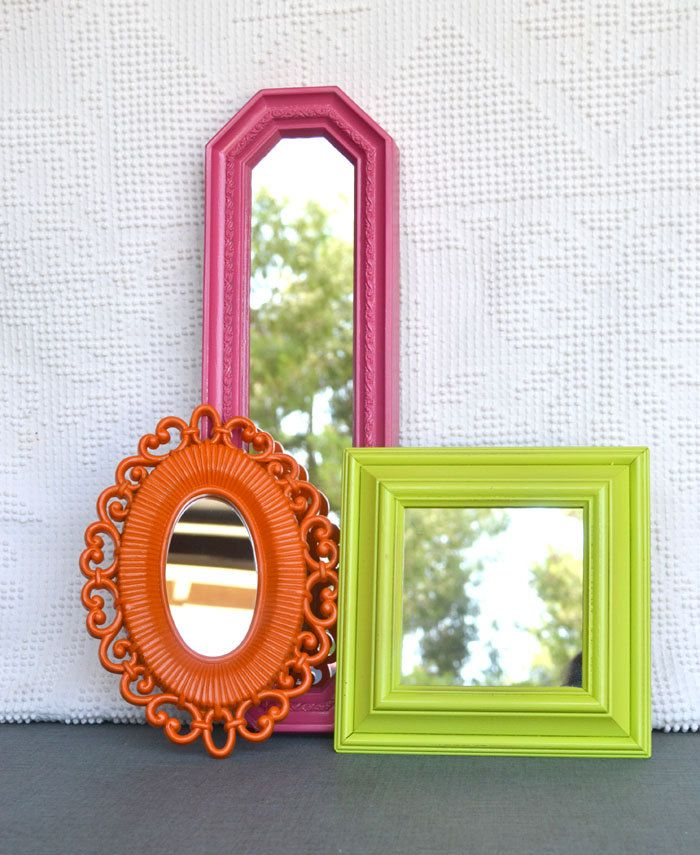 Lime Green Pink Orange Upcycled Bright Mirror collection.... Painted Modern Miror Set of 3 Playroom Teenage Girls Bedroom. $44.00, via Etsy.
