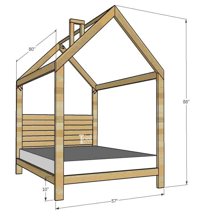 DIY Woodworking Ideas House Frame Bed free plans - Full Size - Her Tool Belt