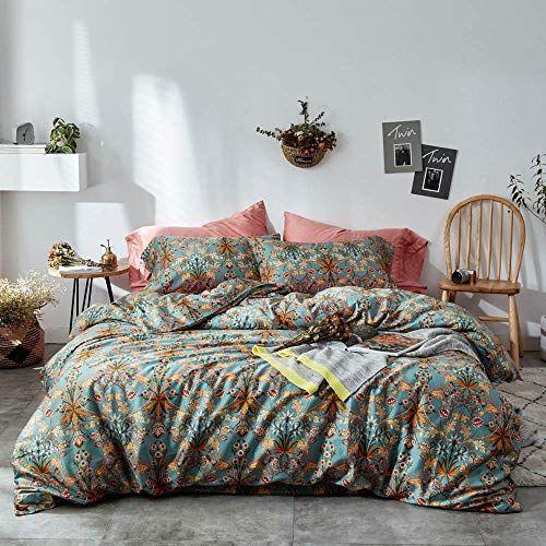 Mixinni Vintage Style Garden Flower Duvet Cover Set With Zipper Closure Soft Cotton Flower Pattern On Blue Bed Duvet Cover Sets Flower Duvet Cover Flower Duvet