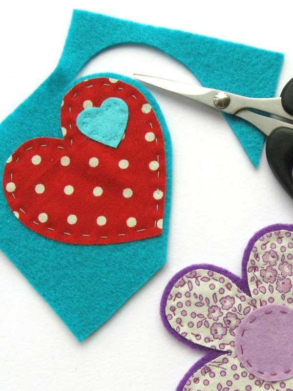 How to make felt and fabric brooches:  Apply similar technique to felt pieces of…