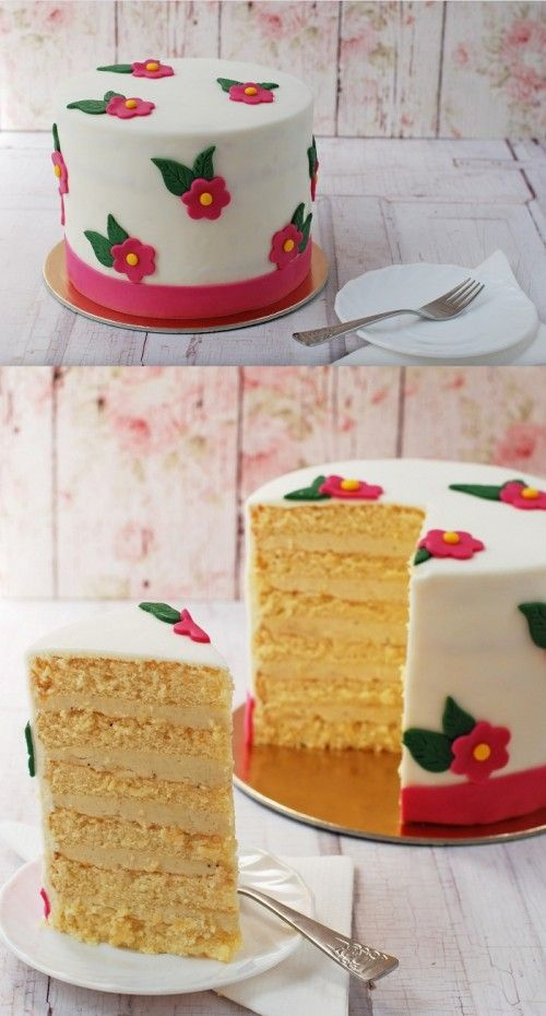 Virágos vaníliás torta recept