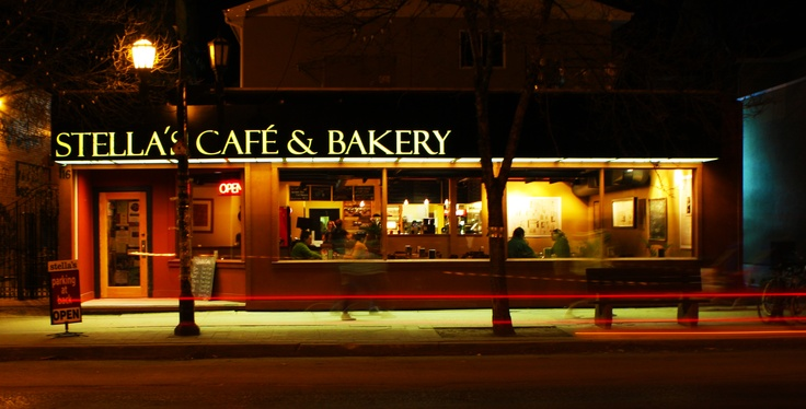 This is a nighttime shot someone took of Stella's Cafe and Bakery in Winnipeg that reminds me of Edward Hopper's painting Night Owl.  I've only been during the day and it's lovely.  Voted Winnipeg's best breakfast and now in various locations around the city.  I've eaten something from Stella's almost every day seeing as how my family is (understandably) obsessed!