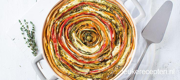Spiraal taart met brie