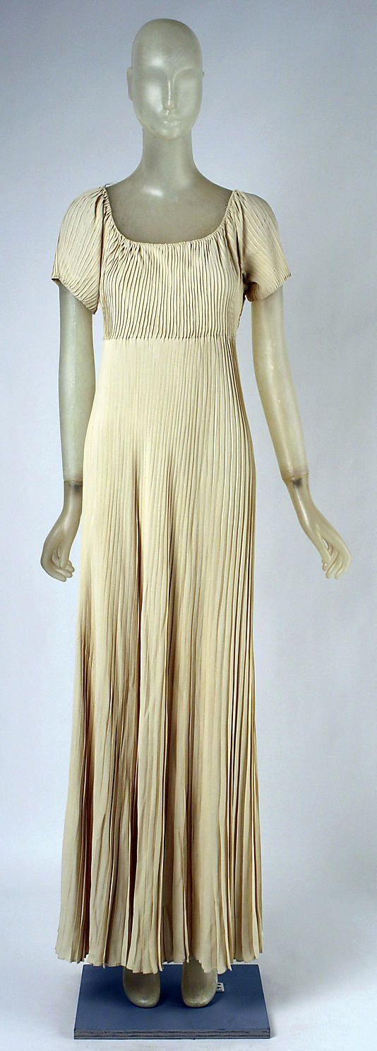 Dress, Evening  Madeleine Vionnet (French, Chilleurs-aux-Bois 1876–1975 Paris)  Date: fall/winter 1937–38 Culture: French Medium: silk, rayon Dimensions: Length at CB: 53 in. (134.6 cm) Credit Line: Gift of Betty Furness, 1986