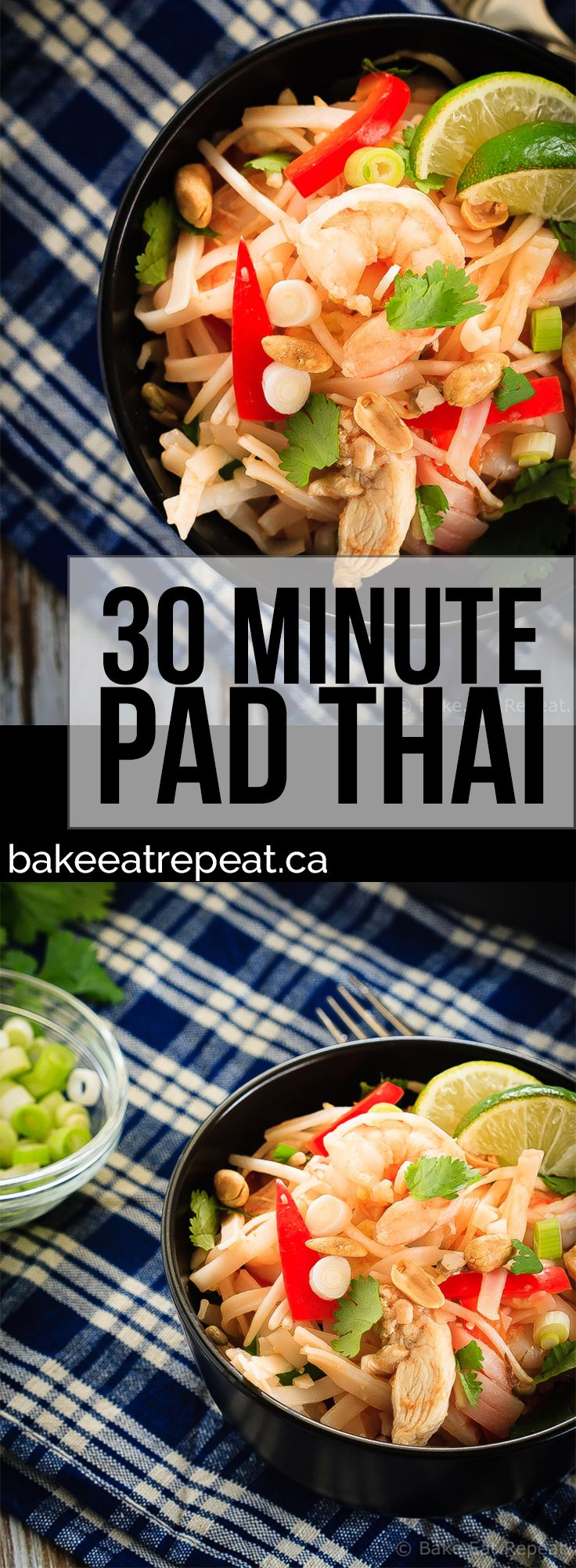30 Minute Pad Thai - Skip the takeout and make your Pad Thai at home instead! This easy to make chicken and shrimp Pad Thai will be on the table in 30 minutes!