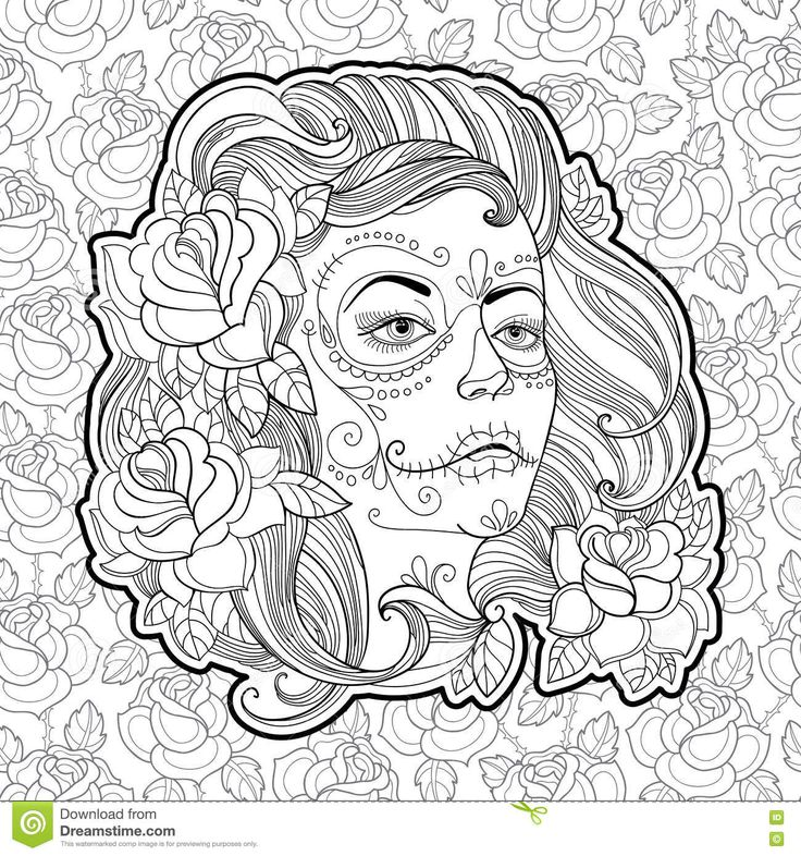 Coloring Pages For Adults Skull : 218 best sugar skulls day of the dead coloring pages for adults