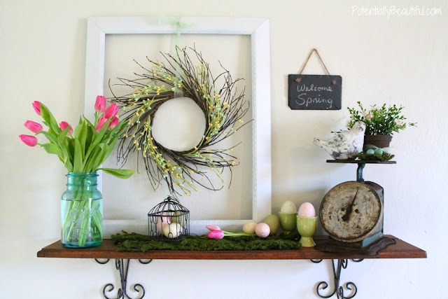 spring mantel - twig wreath in frame, blue mason jar, vintage scale