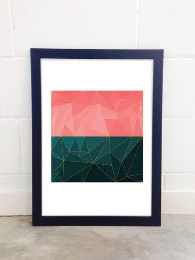 Mozaik by Fimbis Abstract 3D triangle print Cool Framed Art Prints London #geometric #mosaic #green #pink #wallart #interiors