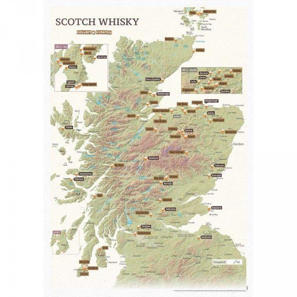 Carte A Gratter Des Whiskies Ecossais Achat Carte Du Monde A Gratter Cadeau Maestro Whisky Ecossais Whisky Carte A Gratter
