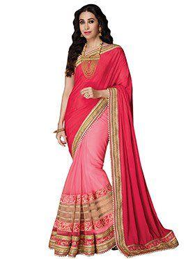 Karisma Kapoor Red N Pink Half N Half Saree