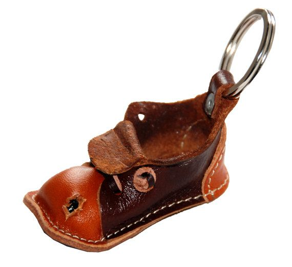 Small leather aged shoe keychain  Handmade by GriffinLeatherDesign