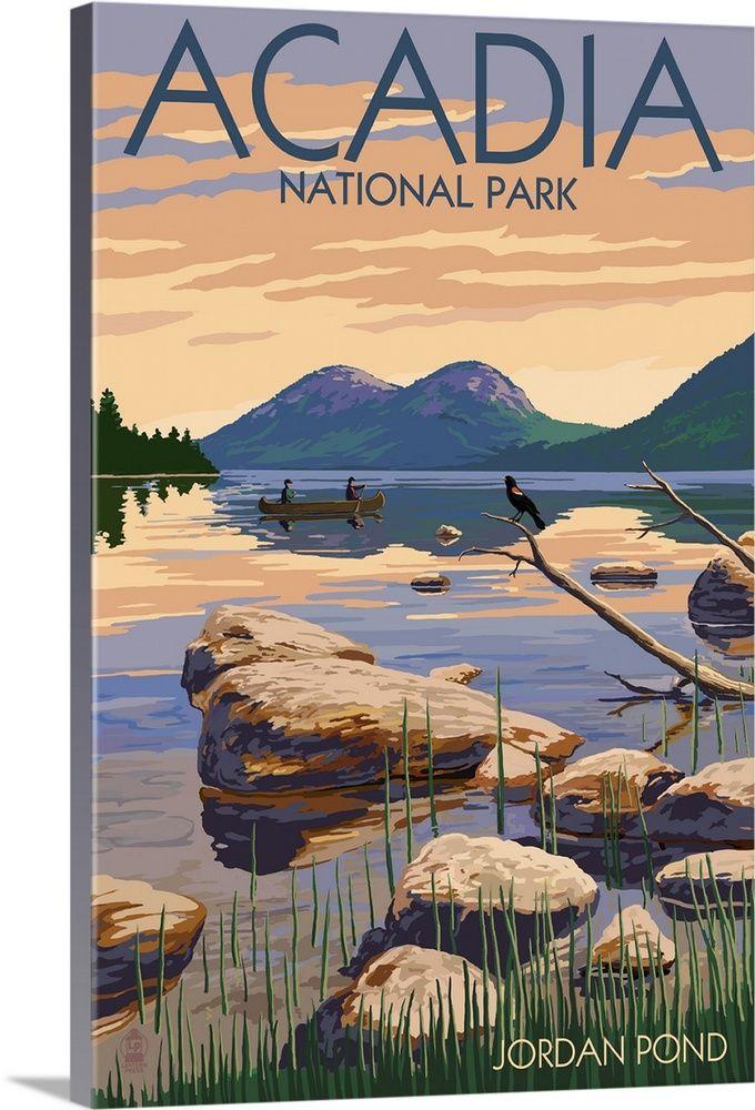 Acadia National Park Maine Jordan Pond Retro Travel Poster Wall Art Canvas Prints Framed Prints Wall Peels National Park Posters Travel Posters National Parks