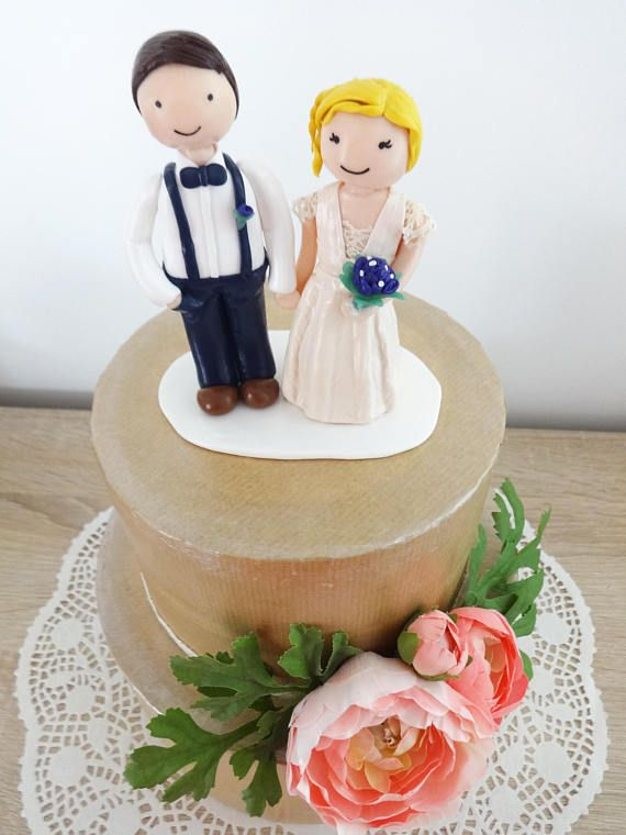 Cake topper / Figurines Mathilde et Charles - Mariage Bohème Chic