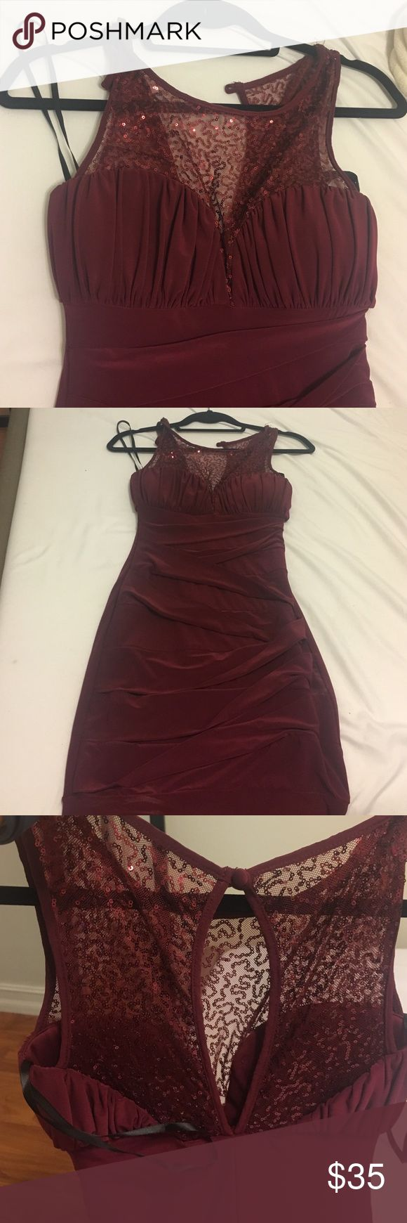 Windsor maroon cocktail dress Never worn. A couple of deodorant spots from removing the dress after trying it on sequin illusion detail. Ruched with a ton of stretch WINDSOR Dresses